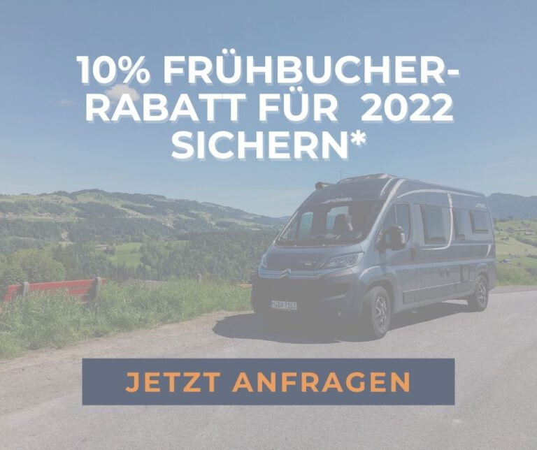 Frühbucherrabatt 2022 Wohnmobil mieten München
